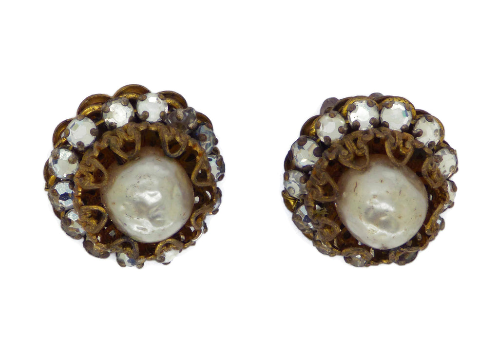 Miriam Haskell Glass Pearl and Rhinestone Clip Earrings - Vintage Lane Jewelry