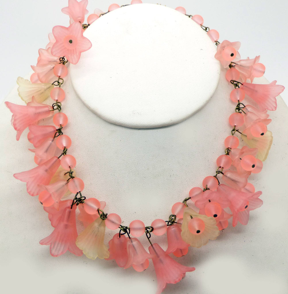 Lucite Flowers and Glass Bead Necklace, Peach and Bright Salmon Colors - Vintage Lane Jewelry