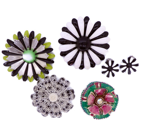 Enamel Flower Lot, 7 pins, Flower Brooches, purple, pink