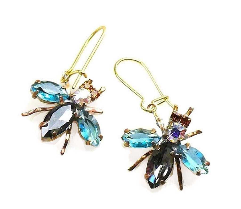 Czech Glass Fly Earrings, Blue Wings - Vintage Lane Jewelry