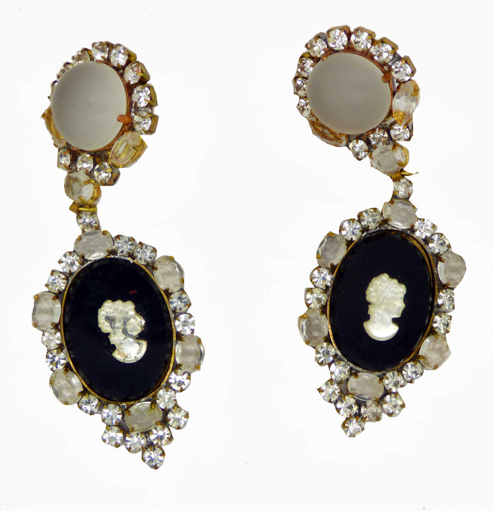 Czech Glass Black Cameo Clip Earrings - Vintage Lane Jewelry