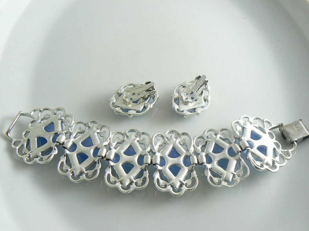 Coro Blue Swirled Diamond Bracelet Earring Set - Vintage Lane Jewelry