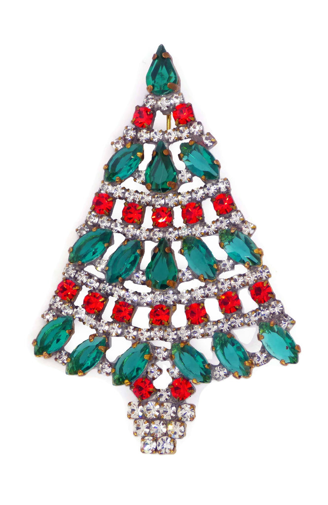 Red and Green Czech Glass Rhinestone Christmas Tree Brooch - Vintage Lane Jewelry