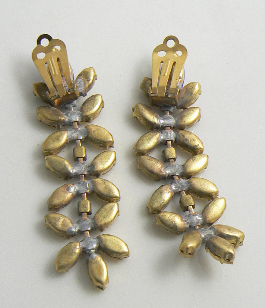 Czech Glass Gold Blue Rhinestone Dangle Clip Earrings - Vintage Lane Jewelry