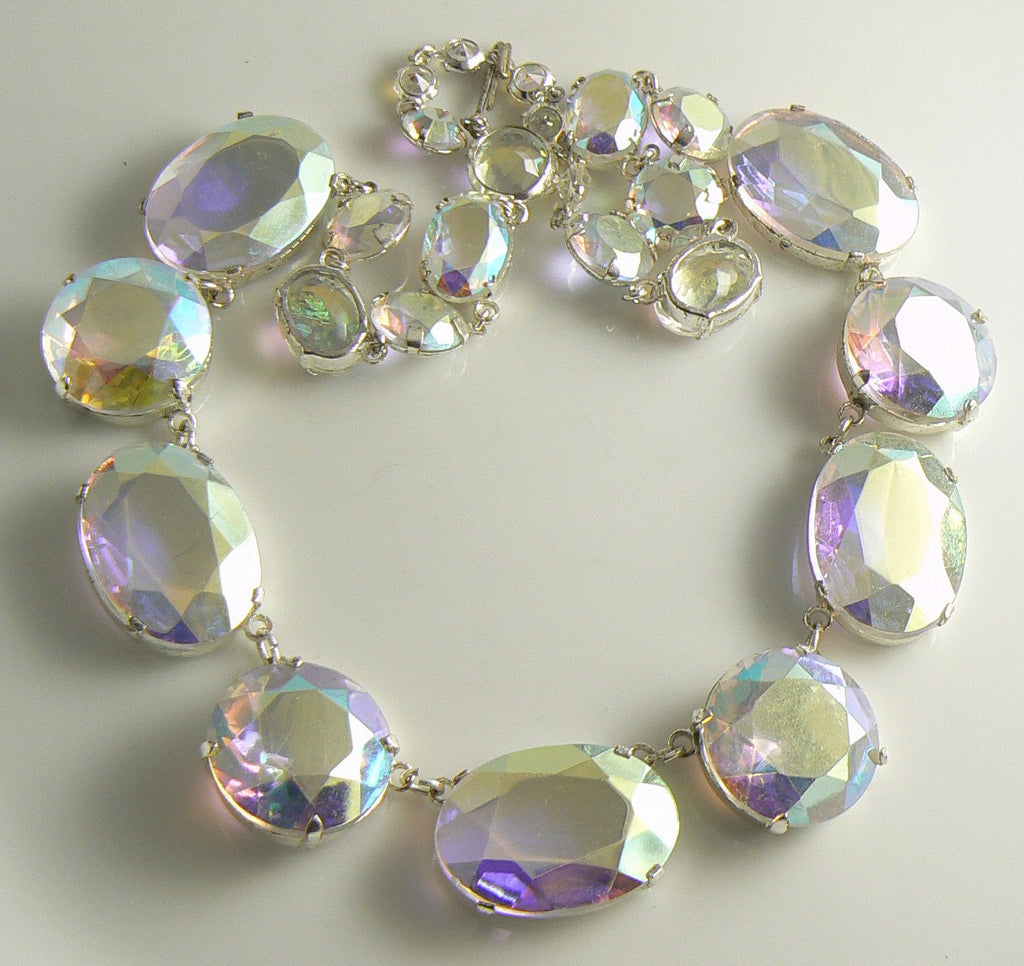 Beautiful Aurora Borealis Rhinestone Vintage Necklace - Vintage Lane Jewelry