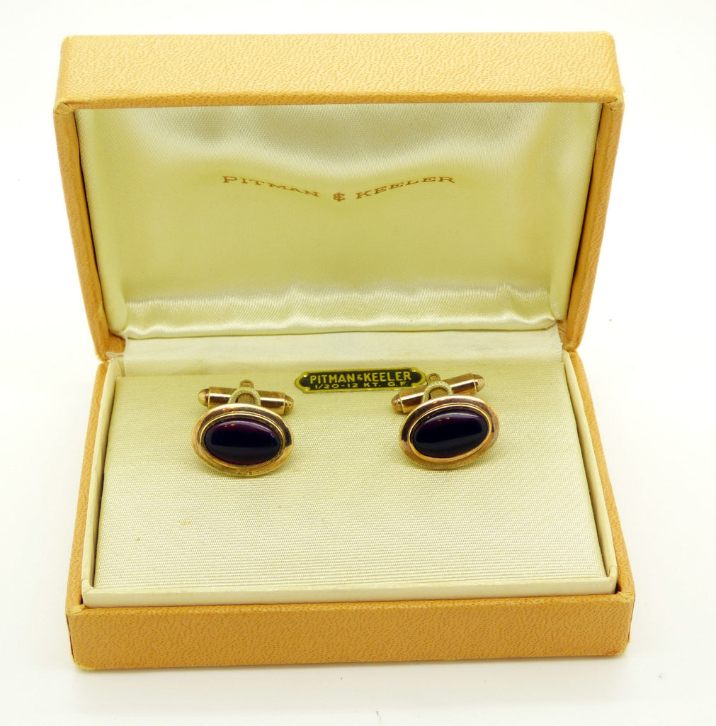 Pitman and Keeler 1/20 - 12 KT. G.F. Deep Red Lucite Cufflinks in Original Box - Vintage Lane Jewelry