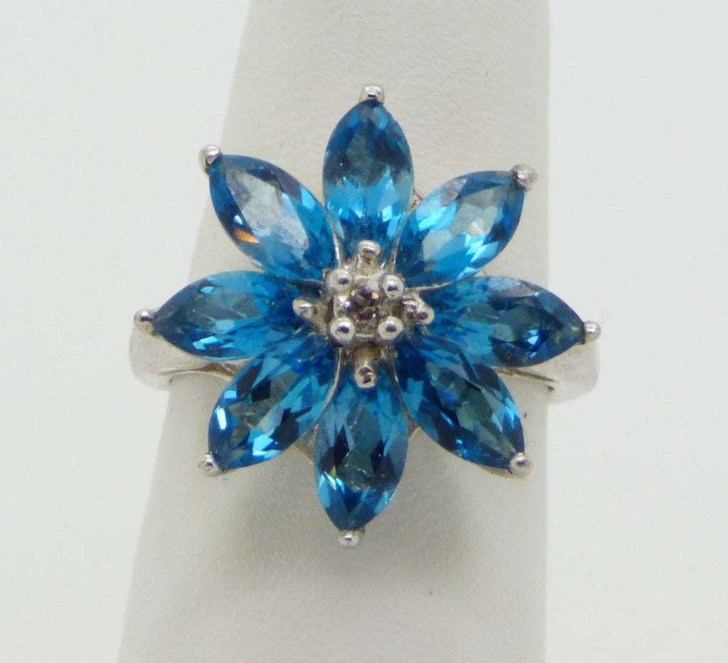 Sterling Silver Genuine Blue White Topaz Marquise Cut Flower Ring - Vintage Lane Jewelry
