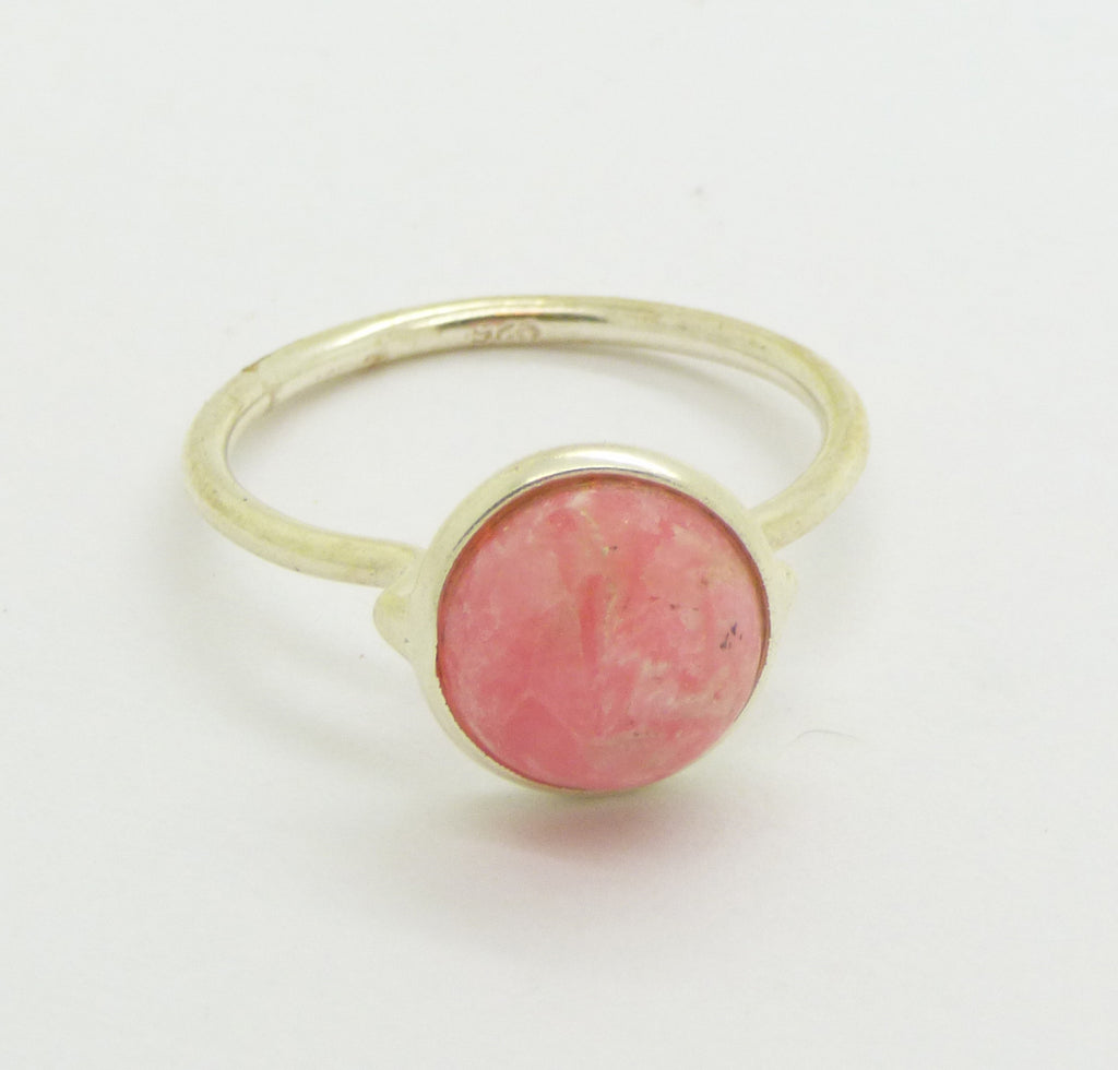 2 CT Pink Rhodochrosite Sterling Silver 925 Modernist Ring - Vintage Lane Jewelry