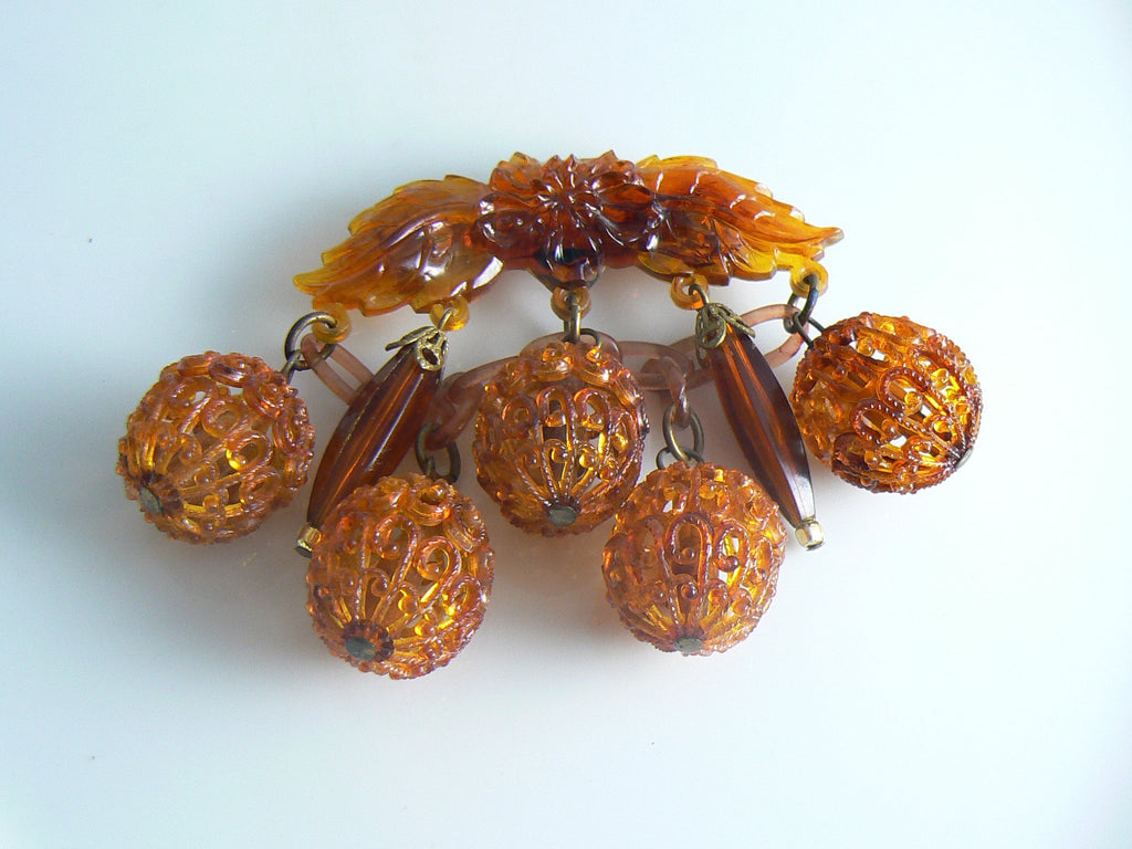 Celluloid Dangle Dark Amber Old Estate Brooch - Vintage Lane Jewelry