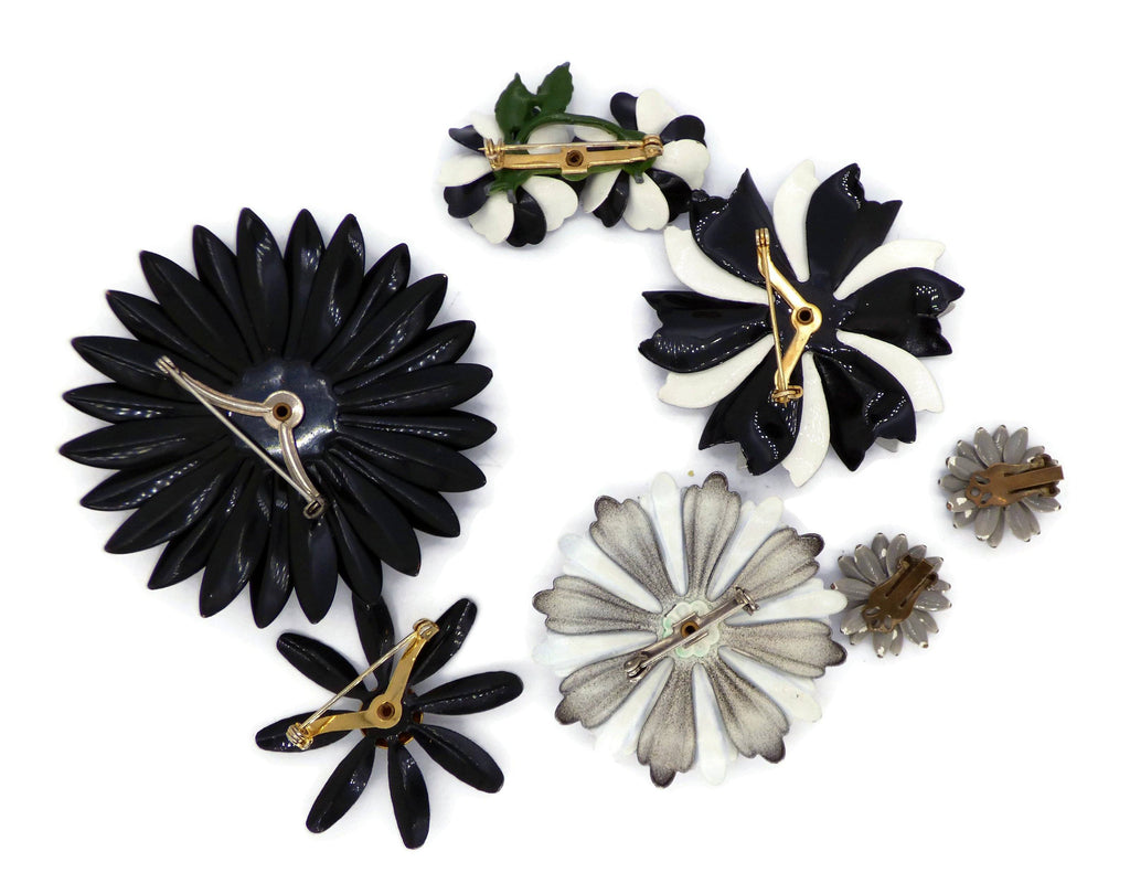 Shades of Gray Enamel Flower Lot, 5 pins, 1 Clip Earrings, Flower Brooches - Vintage Lane Jewelry