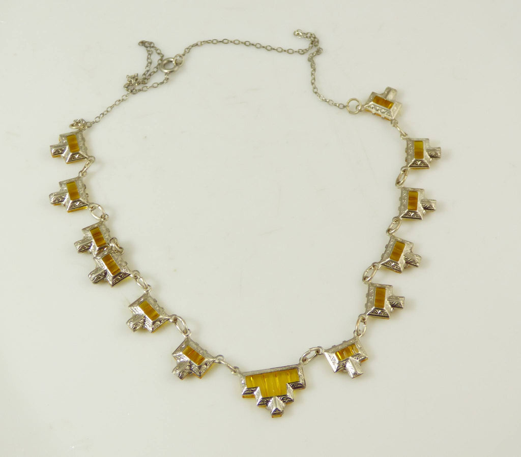 Vintage Step Vauxhall Gold Glass Art Deco Necklace. - Vintage Lane Jewelry