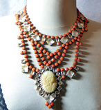 Czech Statement Orange Opaque Rhinestone Glass Cameo Necklace - Vintage Lane Jewelry