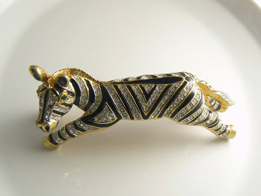 Massive Black Enamel Ice Rhinestone Striped Zebra Shoulder Pin - Vintage Lane Jewelry