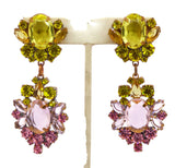 Czech Glass Pink and Yellow Clip Earrings - Vintage Lane Jewelry