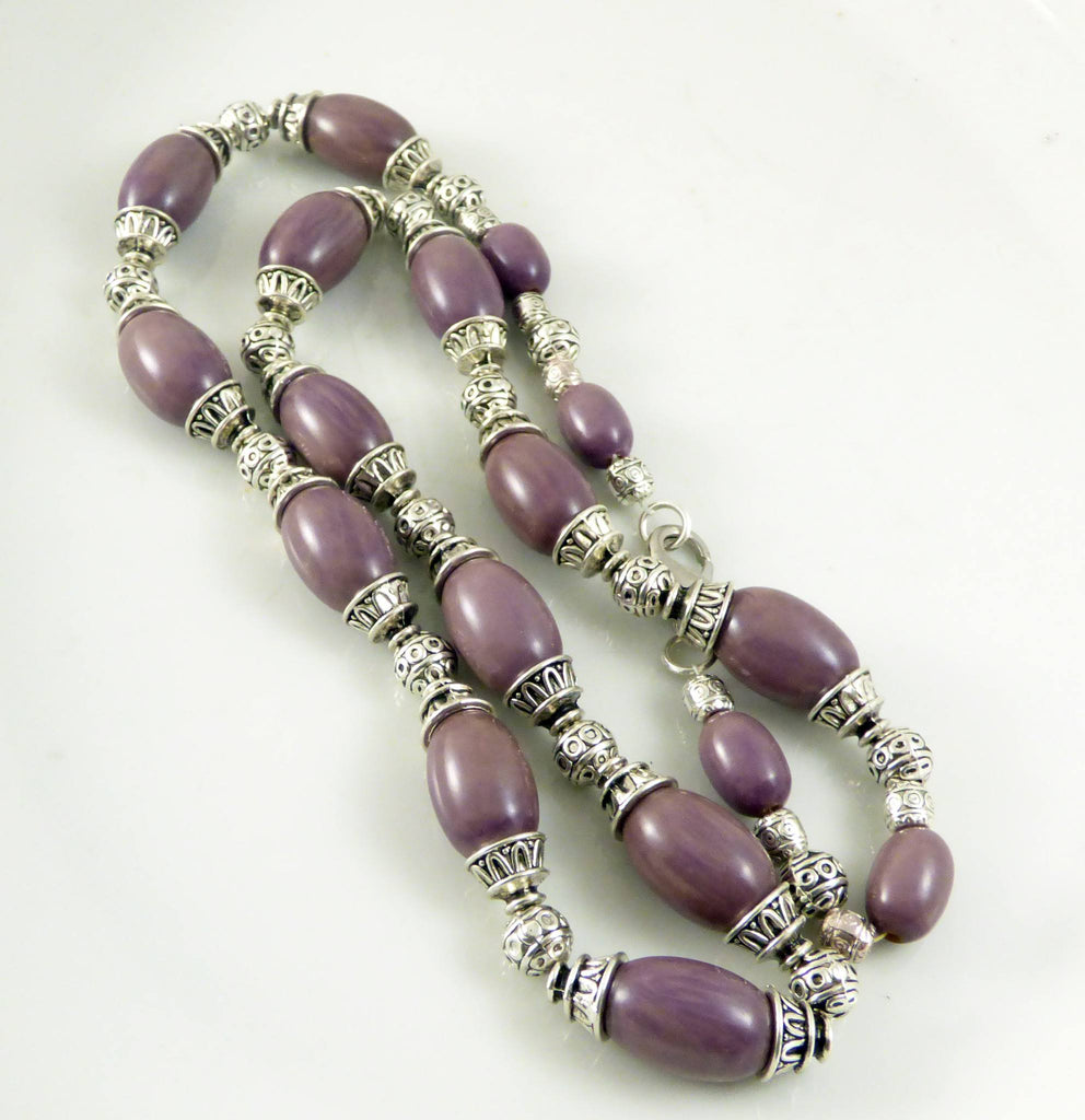 Lilac Bakelite Olive Beads with Silver Tribal beads Necklace - Vintage Lane Jewelry