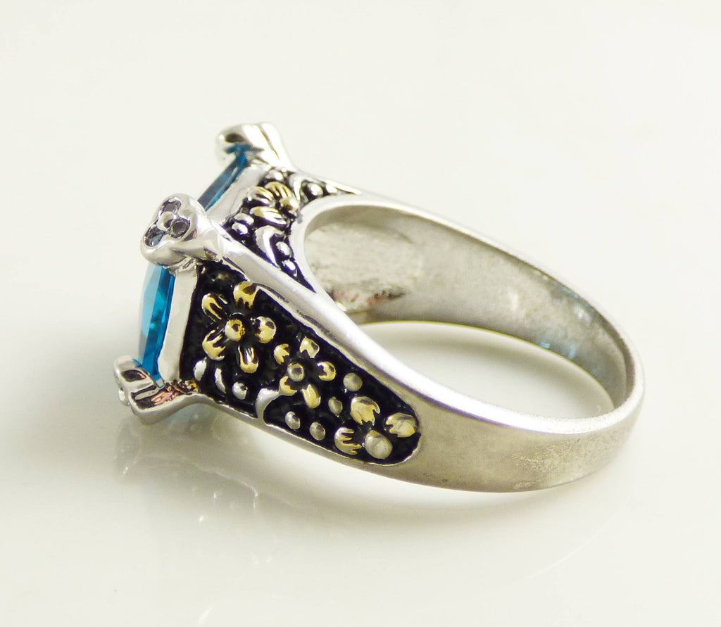Sterling silver 925 London Blue Quartz Beaded Forget Me Not Ring - Vintage Lane Jewelry