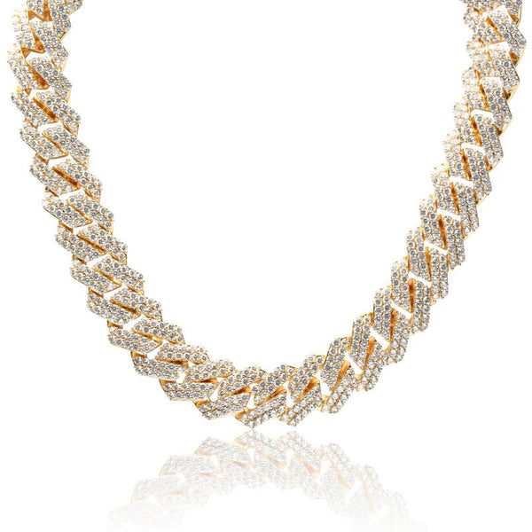 14MM DIAMOND PRONG LINK CHAIN - GOLD