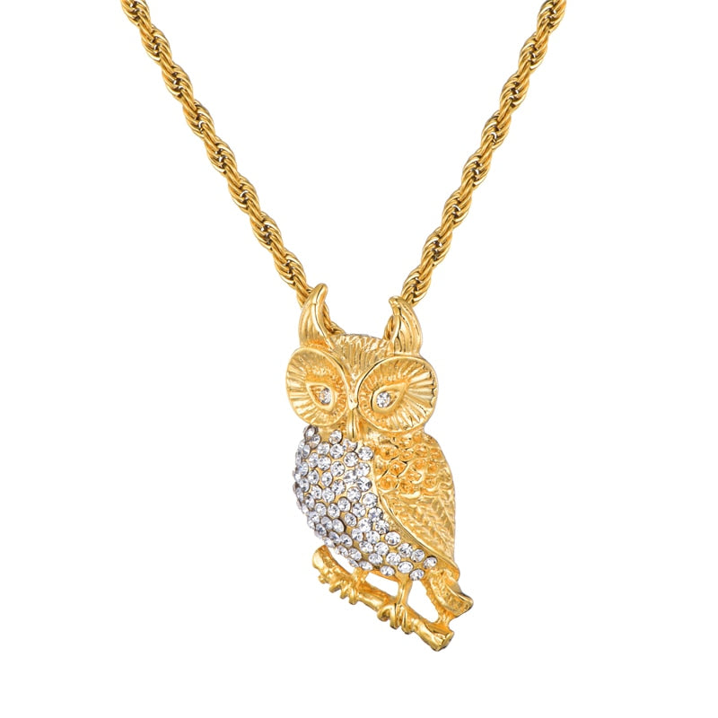 ICED OUT OWL PENDANT - GOLD
