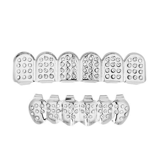 Dotted Diamond Grillz - White Gold