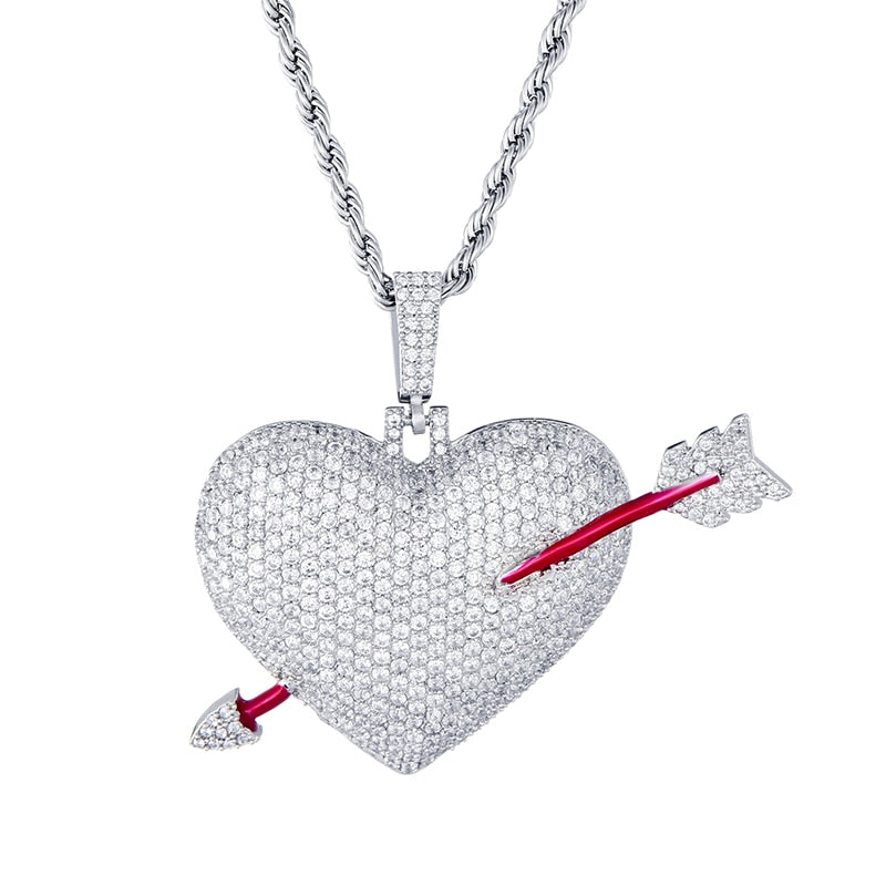 ARROW HEART PENDANT - WHITE GOLD