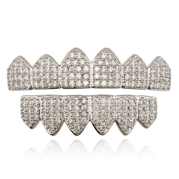 FULL MOUTH CZ ENCRUSTED GRILLZ - WHITE GOLD