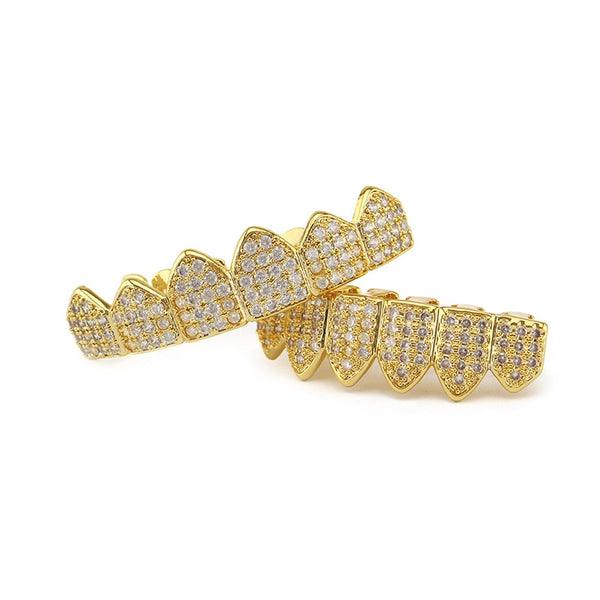 FULL MOUTH CZ ENCRUSTED GRILLZ - GOLD