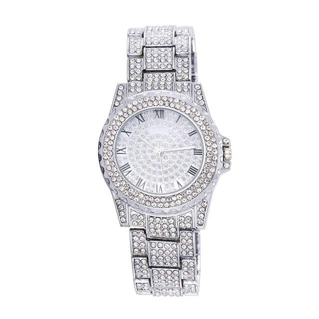 Iced Out Quartz Watch - White gold