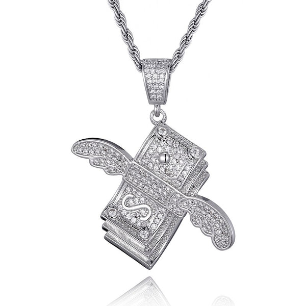 FLYING CASH PENDANT - WHITE GOLD