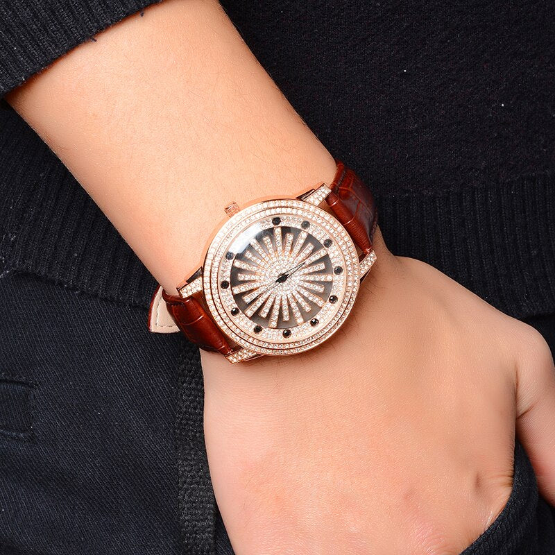 ICED OUT LEATHER STRAP WATCH - ROSE GOLD
