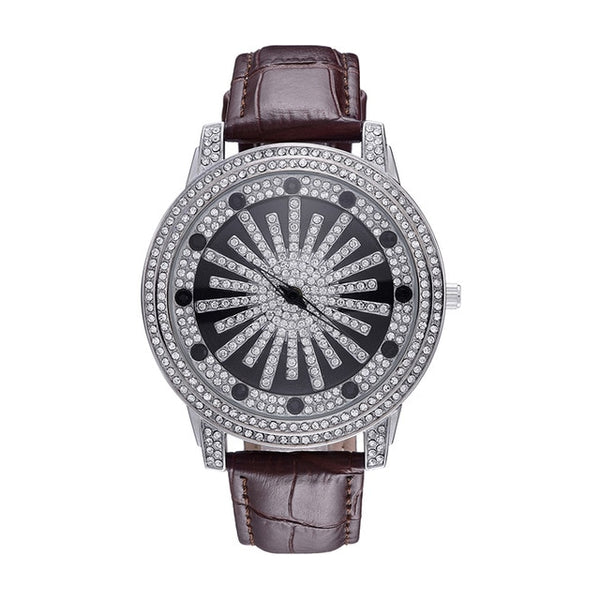 ICED OUT LEATHER STRAP WATCH - WHITE GOLD