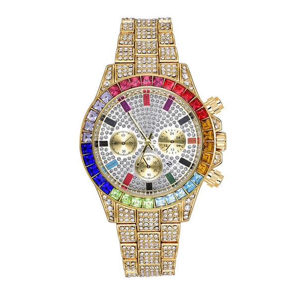 ICED RAINBOW DIAL STEEL WATCH - GOLD