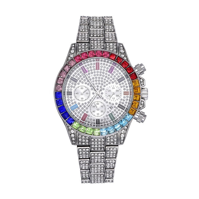 ICED RAINBOW DIAL STEEL WATCH - WHITE GOLD