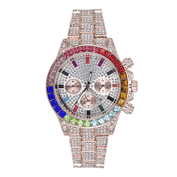 ICED RAINBOW DIAL STEEL WATCH - ROSE GOLD