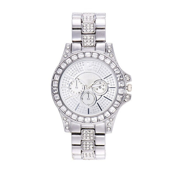 Iced Out Diamond Row Watch - White Gold