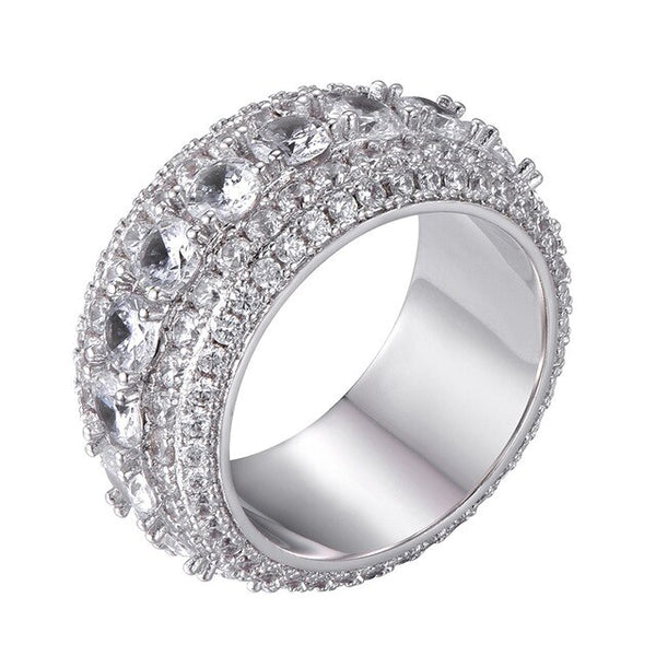5 ROW BAND RING - WHITE GOLD - IceWorldz