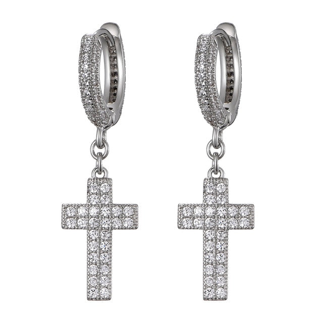 Iced Out Cross Earring - White Gold