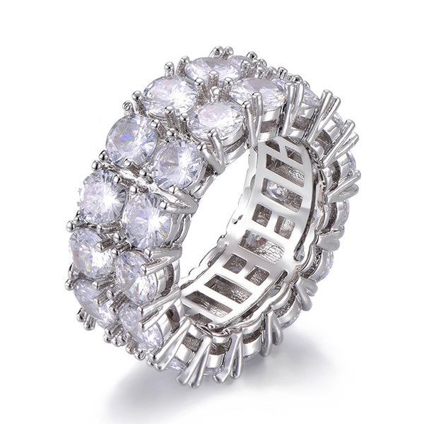 DOUBLE ROW DIAMOND RING - WHITE GOLD - IceWorldz