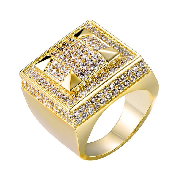 ICED OUT ZIRCON SQUARE RING - GOLD