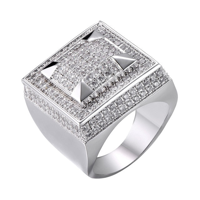 ICED OUT ZIRCON SQUARE RING - WHITE GOLD