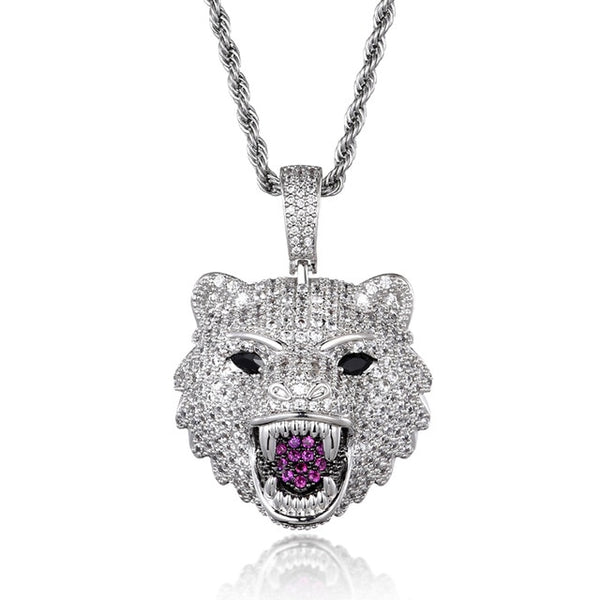 WOLF HEAD PENDANT - WHITE GOLD