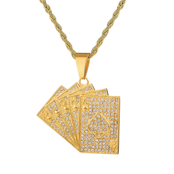 CARDS PENDANT - GOLD