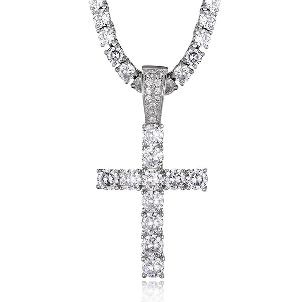 CROSS PIECE PENDANT - WHITE GOLD