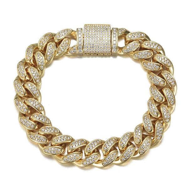 12MM CUBAN BRACELET - GOLD - IceWorldz