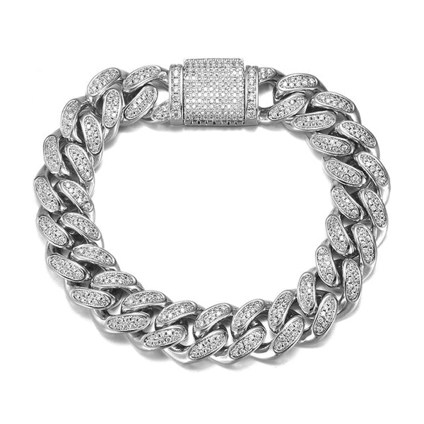 12MM CUBAN BRACELET - WHITE GOLD - IceWorldz