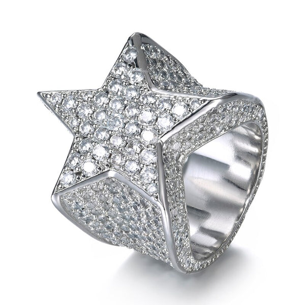 DIAMOND STAR RING - WHITE GOLD - IceWorldz