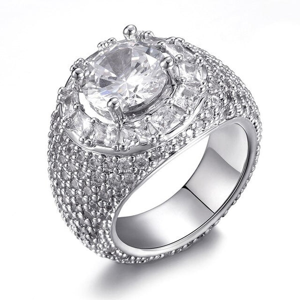 Baguette Cluster Ring - White Gold