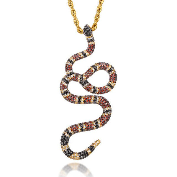 ICED OUT SNAKE PENDANT - GOLD
