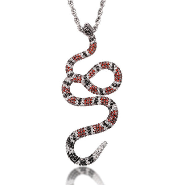 ICED OUT SNAKE PENDANT  - WHITE GOLD