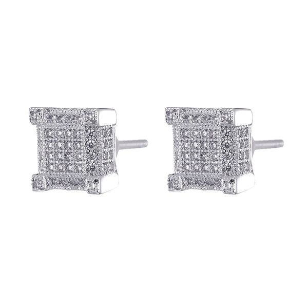 Iced Out Rhinestone Stud Earring - White Gold