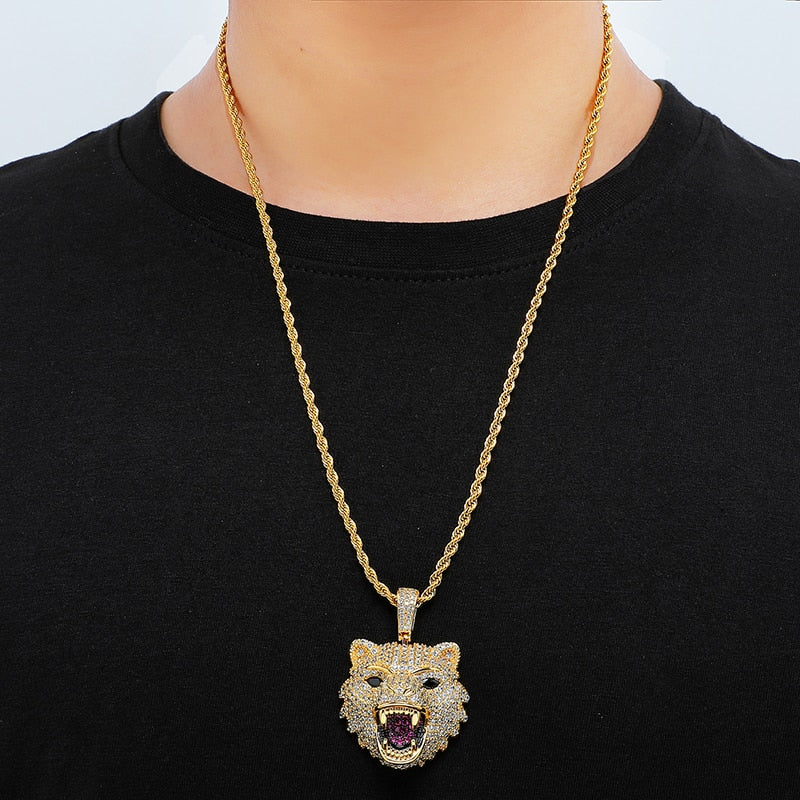 WOLF HEAD PENDANT - GOLD